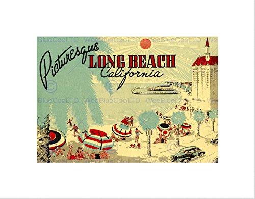 Wee Blue Coo ansichtkaart, schilderachtig strand Californië strand