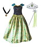Cokos Box Girls Coronation Dress Princess Costume Necklace Tiara Wand Set, 5 Years to 6 Years, 5T to 6X, Green
