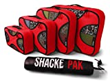 Shacke Pak - 5 Set Packing Cubes - Travel Organizers with Laundry Bag (Warm Red)