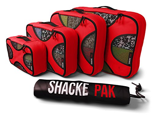 Shacke Pak  5 Set Packing Cubes  Travel Organizers with Laundry Bag Warm Red