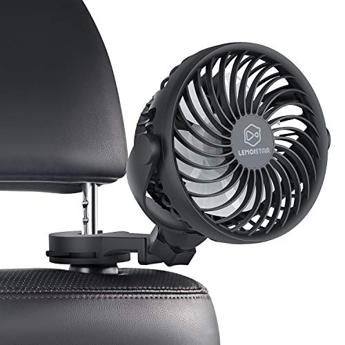 LEMOISTAR Battery Operated USB Baby Car Fan,Electric Cooling Fan with 4 Speed,360 Degree Rotatable Backseat Car Fan,5V Cooling Air Small Personal Fan for Car,Rear Seat Passenger Dog Kids etc