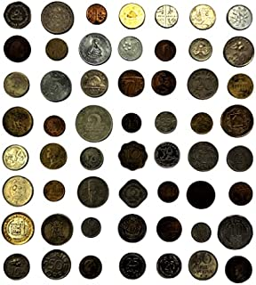 novelty collections-55 world coins(minimum 24 countries)-all different- Multi color