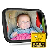 VicTsing Baby Car Mirror, Shatter-proof Most Stable Safety Car Seat Mirror for Rear Facing Infant Crystal Clear with Elastic Adjustable Straps, 360 Swivel, Backseat Wide View