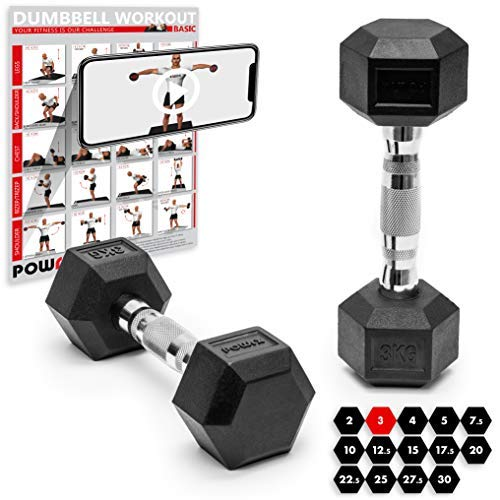 POWRX Hexagon-Hanteln (Paar) inkl. Workout | 2-32,5 kg | gummiert | rutschsichere, verchromte Griffe | Kurzhantel-Set | Dumbbell-Set (2 x 3 kg)