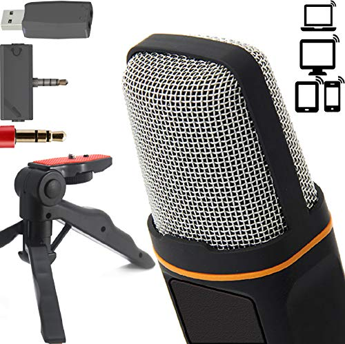 ZaxSound Professional Cardioid Condenser Microphone with Tripod Stand for PC, Laptop, iPhone, iPad,...