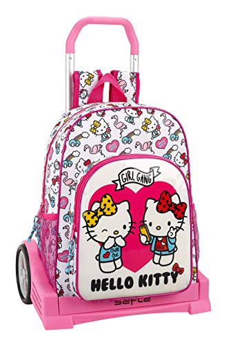 Hello Kitty Mochila con Carro Ruedas Evolution, Trolley, Rosa, 42 cm