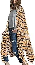 Women Animal Print 3/4 Sleeve Robe Kimono Casual Cardigan Sheer Loose Cover up S