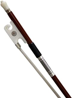 PAITITI 4/4 Full Size Violin Bow Brazil Wood Mongolian Horsehair Round Stick White Ox Horn Artist Frog Fully-Line Abalone Inlay Silver Wrap
