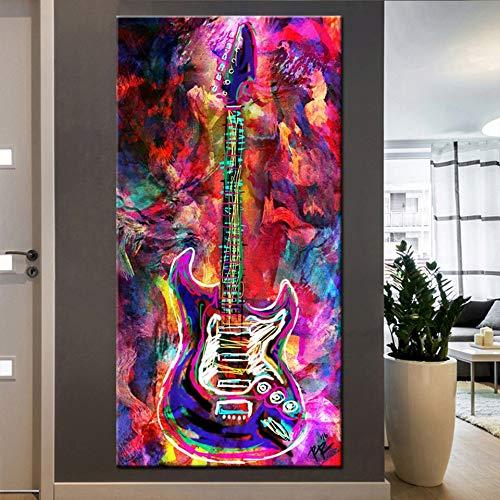 Diamond Painting Large Full Drill Guitarra colorida,DIY 5D Diamante Pintura by Numbers Kit Completo Diamantes de imitación Bordado Punto de Cruz Art Craft for Home Wall Decor 40x80cm/16x32in T4346