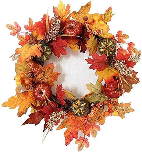 Daliuing Halloween Autumn Wreath Garland Flower Leaf Rattan Fairy String Artificial Encrypt Garlands Christmas Garland Artificial Flowers40cm