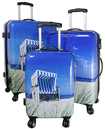 Betz Reisekoffer STRANDKORB Hartschalen Koffer Kofferset Handgepäck Teleskop Trolley Boardcase mit TSA Schloss und Leichtlaufrollen Größe M
