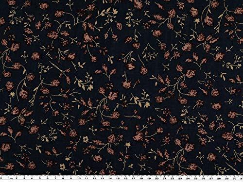 ab 1m: Viskosedruck, kleine Blumen, marine-wildrose, 142cm breit