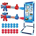 OleFun Shooting Game Toy for Age 5, 6, 7, 8,9,10+ Years Old Kids, Boys - 2 Foam Ball Popper Air Guns & Shooting Target & 24 Foam Balls - Ideal Gift - Compatible with Nerf Toy Guns