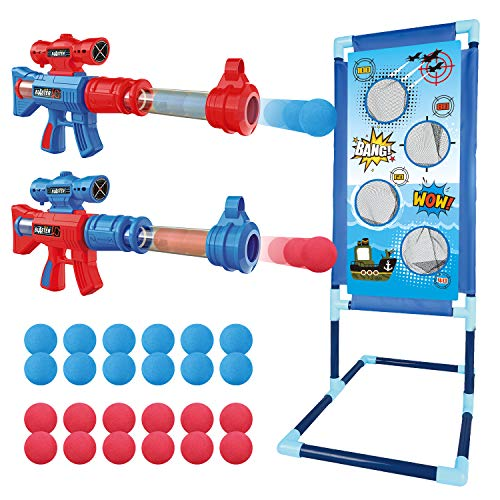 OleFun Shooting Game Toy for Age 5 6 7 8910 Years Old Kids Boys  2 Foam Ball Popper Air Guns amp Shooting Target amp 24 Foam Balls  Ideal Gift  Compatible with Nerf Toy Guns