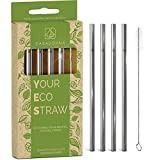 Stainless Steel Reusable Drinking Straws 6' Short & Safer Straws for Kids, Coffee, Bar, Cocktail Glasses, Half Pint Jars, Ecologically Friendly, Set of 4 Metal Straws with Brush & Silicone Tips(US)