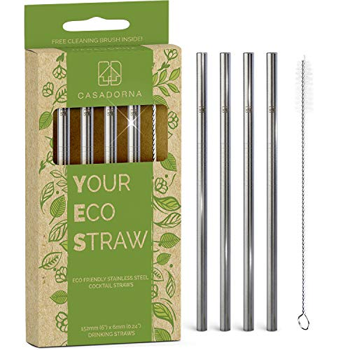 """Stainless Steel Reusable Drinking Straws 6"""" Short & Safer Straws for Kids, Coffee, Bar, Cocktail Glasses, Half Pint Jars, Ecologically Friendly, Set of 4 Metal Straws with Brush & Silicone Tips(US)"""