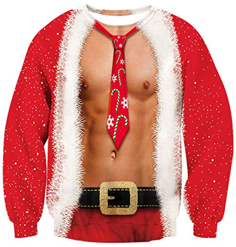 Leapparel Mens and Womens Ugly Christmas Sweater Party Fancy Sweatshirt 3D Graphic Abdominal Muscles Printed Casual Cloths Round Neck Plus Size Pullover Shirts XL