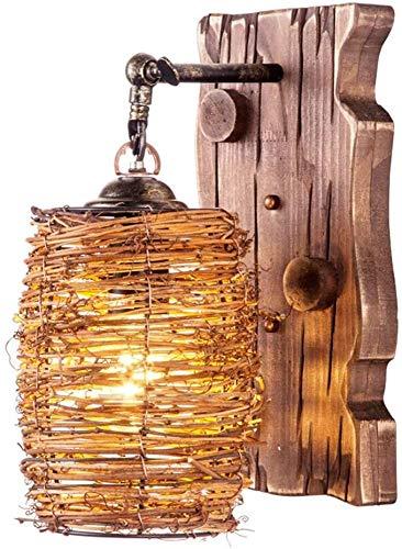 DXXWANG Lámpara de Pared de Madera Downlight Retro ¿Es el Viejo Rural Estilo Luz de Noche,por Restaurante Estudio Corredor Decoración Linterna WENXU/Marrón / 16x33cm