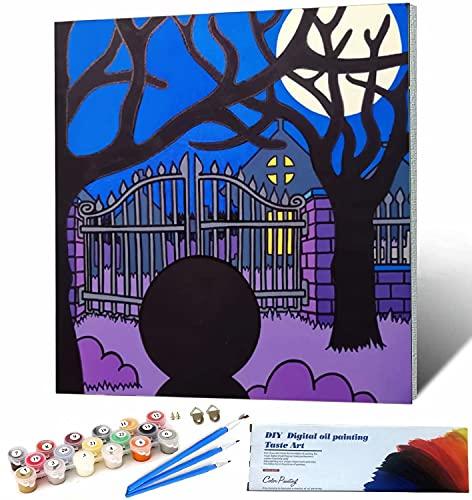 Ming Miao DIY Pintar Lienzo con numeros Noche de Halloween Kits de Pintar acrílica DIY para Adultos Niños Principiantes 40x40cm DIY Marco