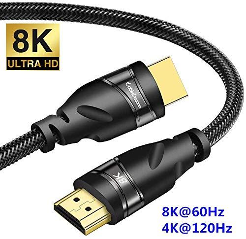 CABLEDECONN 8K HDMI Kupferkabel Echte UHD HDR 8K 48Gbps 8K@60Hz 4K@120Hz Unterstützung HDCP eARC 3D HDMI Kabel kompatibel mit Laptops SetTop Box HDTVs Projektoren 2m 6.6ft