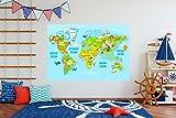 Oedim Vinilo Decorativo Pared Infantil | Mapa Mundi | Cinco Continentes | 145x110cm | Adhesivo Resistente y de Facil Aplicación | Multicolor | Pegatina Adhesiva Decorativa de Diseño Elegante|