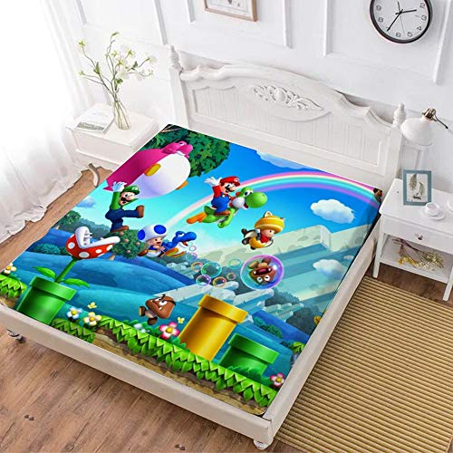 Fitted Sheet,Mario Luigi Yoshi (7),Soft Wrinkle Resistant Microfiber Bedding Set,with All-Round Elastic Deep Pocket, Bed Cover for Kids & Adults,twin (47x80 inch)