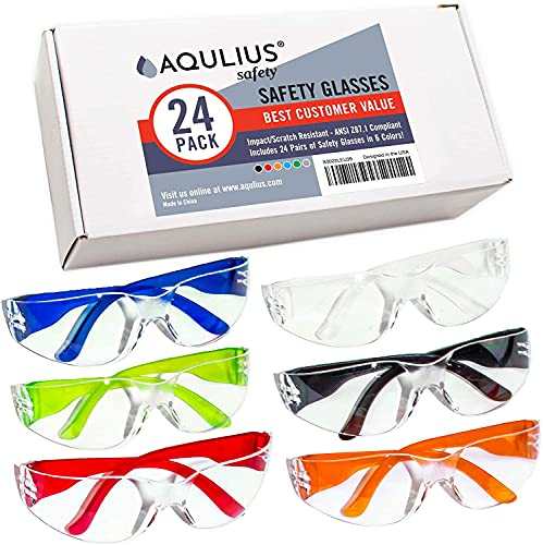 24 Pack of Safety Glasses (24 Protective Goggles...