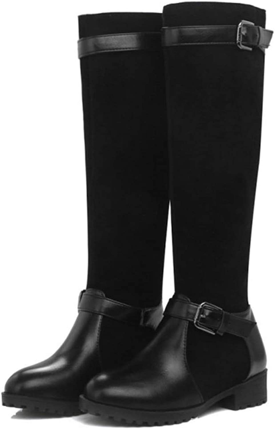 GIY Women's Mid Calf Military Zipper Combat Boots Faux Suede Watrproof Round Toe Buckle Strap Slip On Winter Low Heel Riding Boots