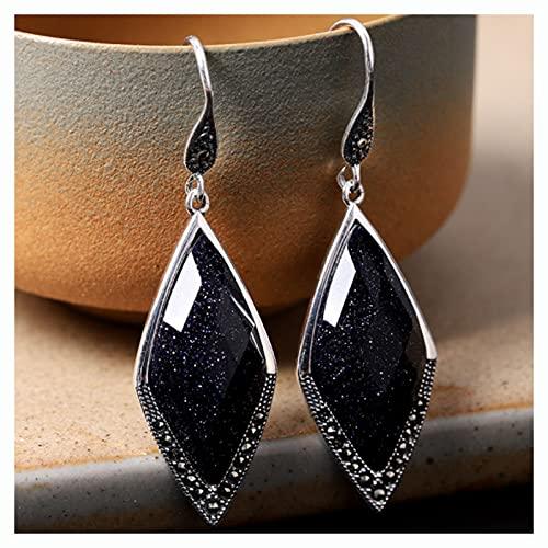 CHXISHOP Pendientes de Moda de la Vendimia de la Moda 925 Pendientes de Arenisca Azul en Forma de Diamante de Plata esterlina Adecuados para Damas y niñas Regalos de joyería Black