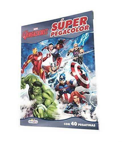 Avengers Super Pegacolor Quaderno Avengers per colorare disegni e incollare adesivi, divertiti con Marvel Avengers Colorear e incollare 40 adesivi.