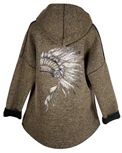 Grisodonna Style Damen Kapuze Ballon Jacke kurz Mantel Trench Coat Poncho Pullover 38 40 42 44 46 S M L XL Indianer Print Strass Übergang Beige (42)