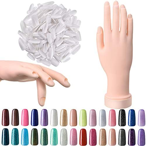 Nail Art Training Practice Hand Bendable Silicone Fake Hand and 500 Pieces White False Nails product image