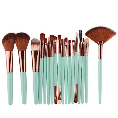Mingfa Make-up-Pinsel-Set, 18-teilig, für Eyeliner, Concealer, Gesichtspuderpinsel Grün grün 19.5 * 13 * 2cm