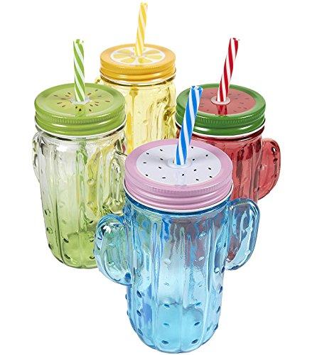 4er Pack Mason Gläser–Colorful Mason Jar Set mit Deckel und Kunststoff Trinkhalme, Glas, 14x 11,4x 7cm.