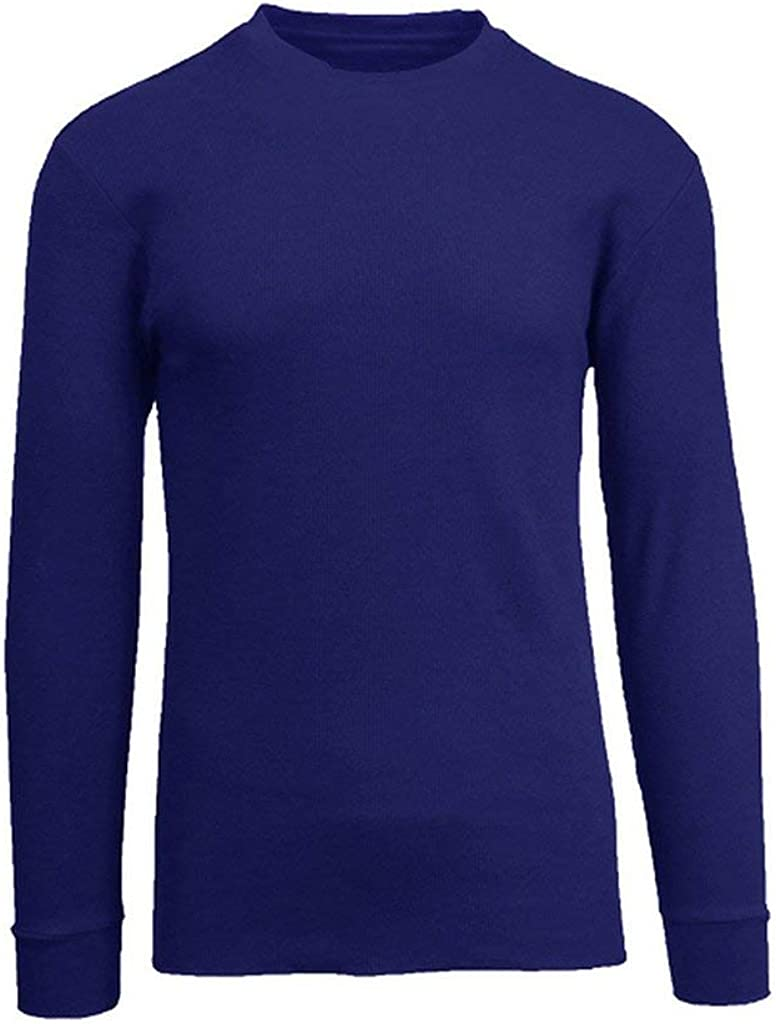 Men's Basic Plain Cotton Long Sleeve Thermal Top Shirts-Black, Blue, Grey, Olive, Red, White and Size S to 5XL