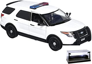 Diecast Car w/LED Display Case - 2015 Ford Unmarked Police Interceptor Utility w/Lights and Sounds, White - Motormax 79535 - 1/24 Scale Diecast Model Toy Car