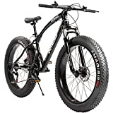 Max4out Fat Tire Mountain Bike 21 Speed Shimano Derailleur, with High Carbon Steel Frame, Double Disc Brake and Front Suspension Anti-Slip Bikes with 26 inch Wheels, Black