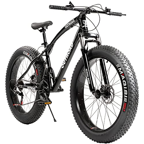 Max4out Fat Tire Mountain Bike 21 Speed Shimano Derailleur, with High Carbon Steel Frame, Double Disc Brake and Front Suspension Anti-Slip Bikes with 26 inch Wheels Black