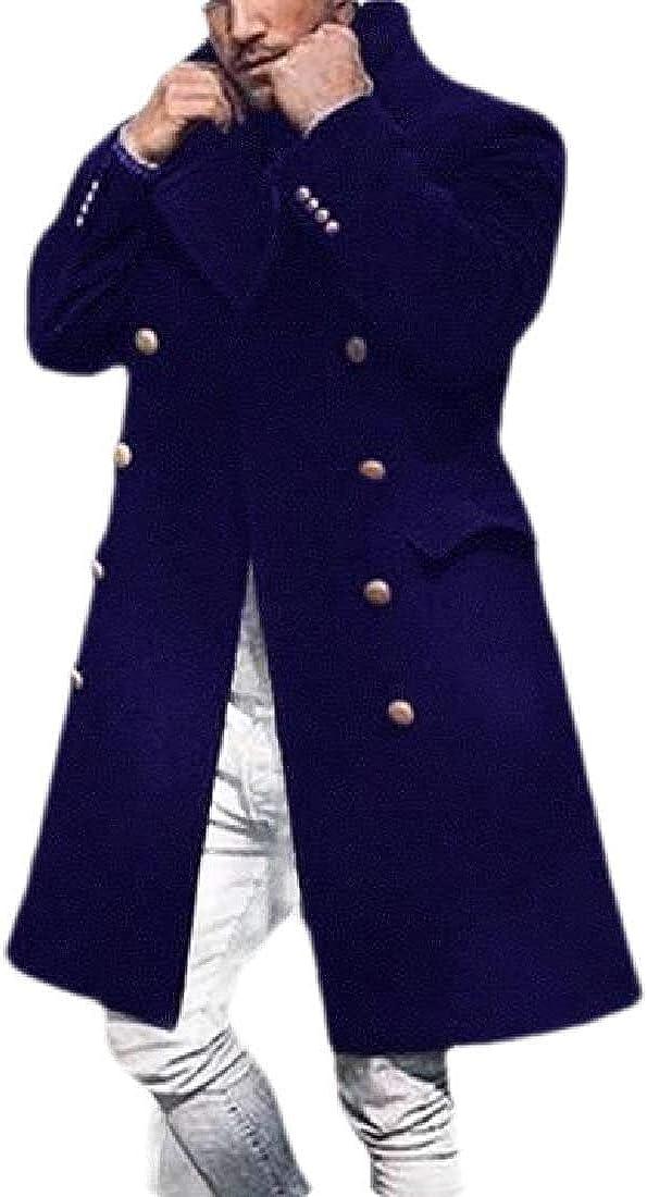 Men Outdoor Double-Breasted Wool Blend Warm Overcoat Long Trench Coat