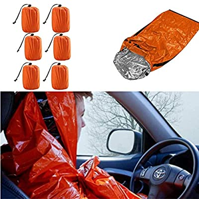 Artostravel Pack of 6 Emergency Bivy Sack Survival Sleeping Bag| Thermal Blanket | Waterproof Breathable| for Camping, Hiking and Any Outdoor Activities.