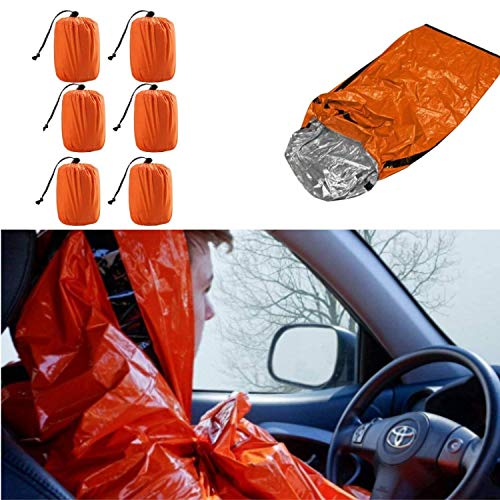 Artostravel Pack of 6 Emergency Bivy Sack Survival Sleeping Bag  Thermal Blanket   Waterproof Breathable  for Camping, Hiking and Any Outdoor Activities.