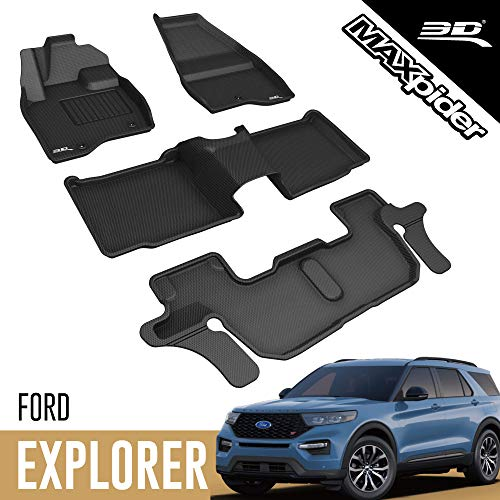 3D MAXpider All-Weather Floor Mats for Ford Explorer 2017 2018 2019 (2nd Row...