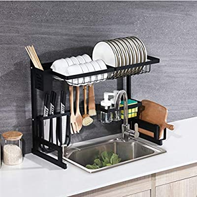 WHIFEA Dish Drying Rack, Kitchen Storage Shelf Over Sink, Stainless Steel Sink Dish Rack, Kitchen Supplies Organizer Utensils Holder, Matte Black by