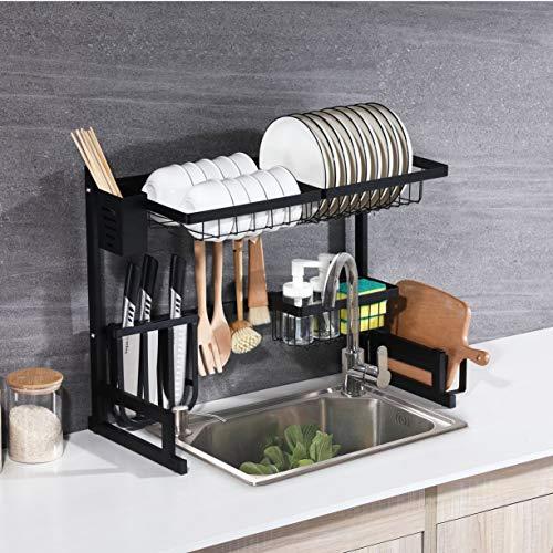 Whifea Dish Drying Rack, Kitchen Storage Shelf Over Sink, Stainless Steel Sink Dish Rack, Kitchen Supplies Organizer Utensils Holder, Matte Black (L 25.6 inch x W 12.6 inch x H 20.5 inch)