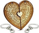 LIKY Amore Heart 2 Heart - Portachiavi Originali in legno inciso coppia innamorati amanti cuore...
