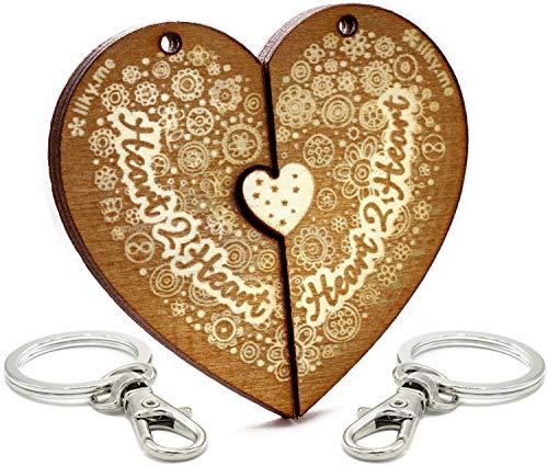 LIKY® Amor Heart2Heart - Llavero corazón Partido Parejas Novios Original de Madera Grabado Regalo para Aniversario San Valentín Mujer Hombre cumpleaños pasatiempo joyería Colgante Bolso Mochila