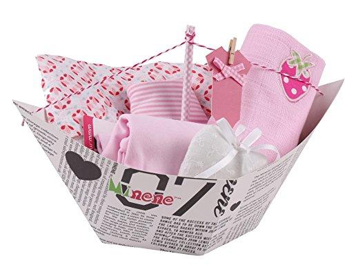 Minene Barquito geschenkdoos, incl. body wandlamp, mousselin XXL, bandana, voile met wandlamp en hartlijn met stof wikkeljurk Ab 6 Monaten roze