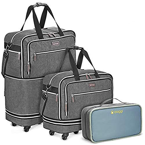 Biaggi Luggage Zipsak Boost Expandable Underseat Luggage, Foldable Spinner Carry On, Grey, One Size