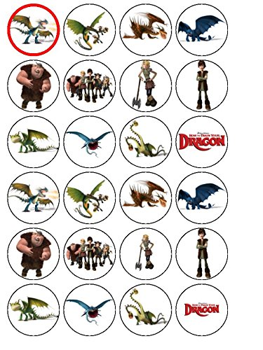 24 How to Train Your Dragon Edible Wafer Paper Cup Cake Toppers by CakeThat