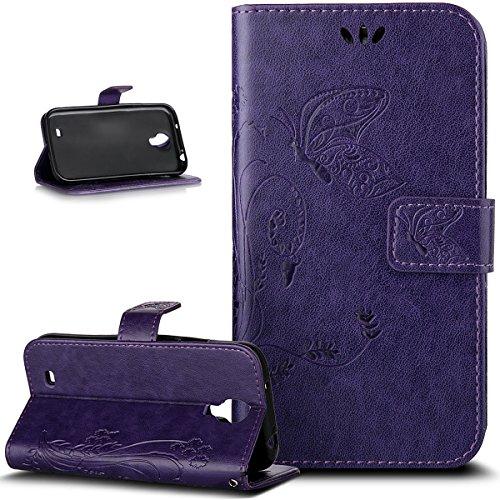 Galaxy S4 Mini caso, piel sintética ikasus gofrar ignarksi mork phonedirectonline funda GBOS tarjetero salidas idénticas soporte para Samsung Galaxy S4 Mini i9190 Big Butterfly:Purple